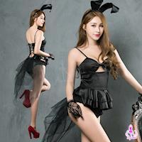 【Ayoka】角色扮演 神祕黑色系兔女郎四件式角色扮演服