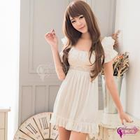 【Sexy Cynthia】 優雅甜美白色柔緞公主袖連身睡衣