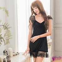 【Sexy Cynthia】黑色蕾絲小蓋袖深V柔緞連身性感睡衣