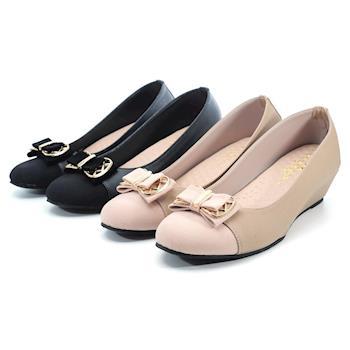 【 101大尺碼女鞋】│大尺碼系列│MIT氣質蝴蝶結雙色拼結坡跟美鞋 -黑色/芋色 0631021298-89