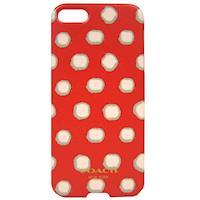 COACH 圓點塗鴉 iPhone 5 手機保護殼(紅白)