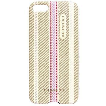 COACH 民俗風直紋 iPhone 5 手機保護殼(卡其粉)