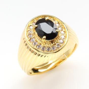 【寶石方塊】黃袍加身天然2克拉黑藍寶戒指-活圍設計