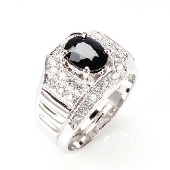 【寶石方塊】登峰造極天然2克拉黑藍寶石戒指-活圍設計