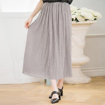 【lingling】全尺碼-腰鬆緊壓摺麻織圓長裙(慵懶灰)A3333-02