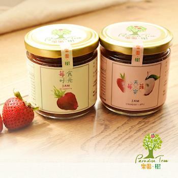[樂園 ‧ 樹] 無農藥草莓果醬  莓好食光+莓天蘋安(230克/瓶,共2瓶)+贈水果軟糖2包(口味隨機)