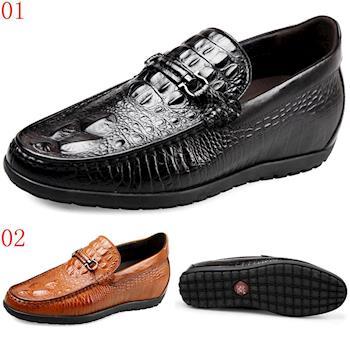 (預購)GOG高哥2017春新款休閒套腳鱷魚紋駕車鞋增高5.5cm兩色可選4817220黑4817221黃