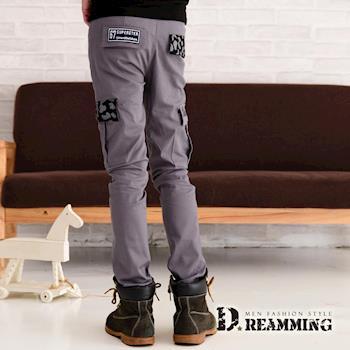 【Dreamming】潮男布章幾何拼接側袋伸縮休閒長褲(共二色)