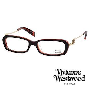 Vivienne Westwood 光學鏡框★不規則音符鏡腳復古框★英倫龐克跳耀土星/平光鏡框(橘紅色) VW201E04