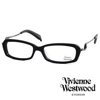 Vivienne Westwood 光學鏡框★不規則音符鏡腳復古框★英倫龐克跳耀土星/平光鏡框(黑色) VW201E03