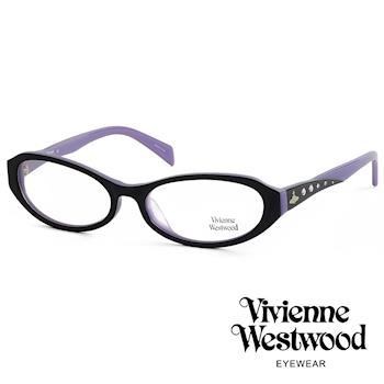Vivienne Westwood 光學鏡框★復古晶鑽造型框★英倫龐克雙色板料/平光鏡框(粉紫黑) VW193E01