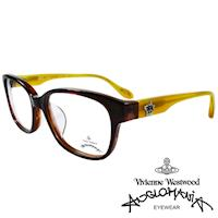 Vivienne Westwood 英國Anglomania五芒土星琥珀撞色光學眼鏡(棕琥珀+黃)AN282E03