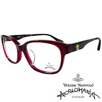 Vivienne Westwood 英國Anglomania五芒土星琥珀撞色光學眼鏡(紅琥珀+黑)AN282E04