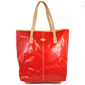 TODS 時尚亮面防水PVC皮飾邊直式大購物包.紅