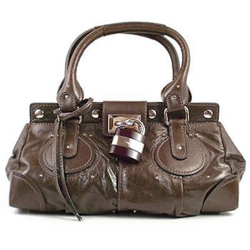 Chloe 新款Paddington bag 經典質感真皮鎖頭包.咖綠色