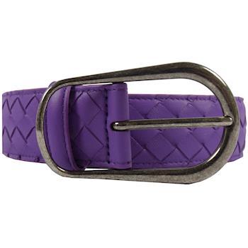 BOTTEGA VENETA 369312 經典手工編織小羊皮皮帶.粉紫