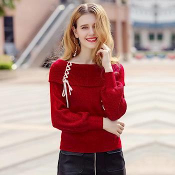 (現貨 RN-girls)-【XU8200010】精品時尚一字領編織燈籠袖針織衫毛衣長袖上衣