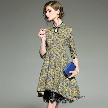 (現貨+預購 RN-girls)-【OL73799】精品中國風旗袍領蕾絲拼接長袖洋裝小禮服