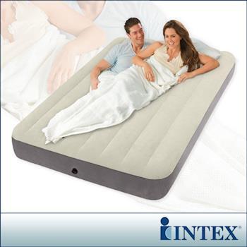 【INTEX】新型氣柱-雙人植絨充氣床墊-寬137cm(64102)