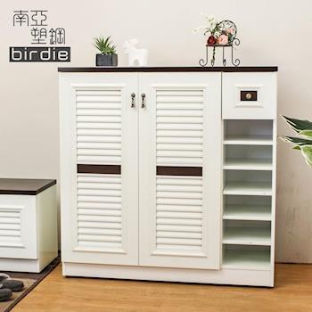 Birdie南亞塑鋼-3.5尺二門單抽右開放塑鋼百葉鞋櫃(胡桃色+白色)
