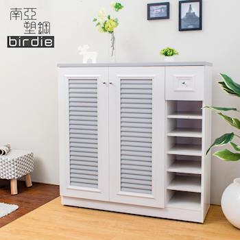 Birdie南亞塑鋼-3.5尺二門單抽右開放塑鋼百葉鞋櫃(大理石灰)