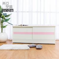 Birdie南亞塑鋼-4尺拉門/推門塑鋼坐式鞋櫃/穿鞋椅(白色+粉紅色)