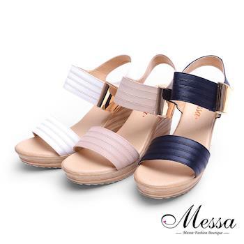 Messa米莎專櫃女鞋- MIT 歐美風金屬扣飾一字帶木紋楔型涼鞋-三色-網