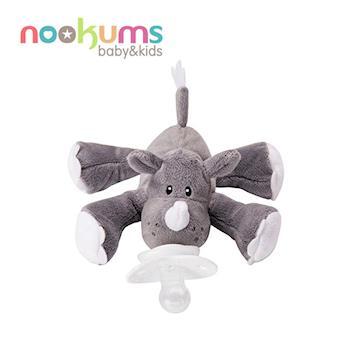 【美國nookums】寶寶可愛造型安撫奶嘴/玩偶-小犀牛