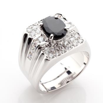 【寶石方塊】王者降臨天然2克拉黑藍寶石戒指-活圍設計
