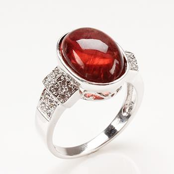 【寶石方塊】娉娉嫋嫋天然紅碧璽戒-925純銀飾