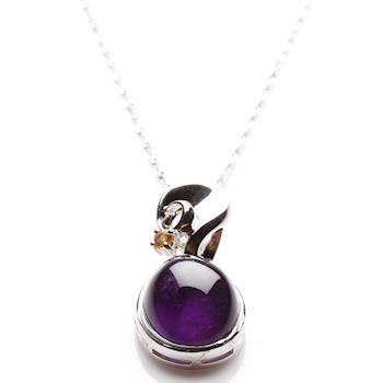【寶石方塊】露紅烟紫天然紫水晶項鍊