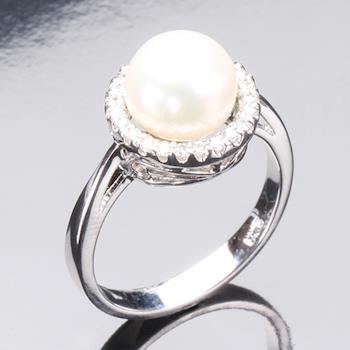 【寶石方塊】優雅典藏天然珍珠戒指 (925純銀飾)