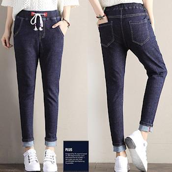 SCL B1740 深色修腿顯瘦鬆緊腰身窄版牛仔褲-,