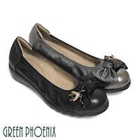 GREEN PHOENIX 立體扭轉蝴蝶結蜜蜂金屬裝飾全真皮小坡跟束口娃娃鞋-古銅色、黑色