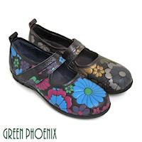 GREEN PHOENIX 不對稱繽紛色彩花朵手縫沾黏式全真皮氣墊瑪莉珍鞋-咖啡色、黑色