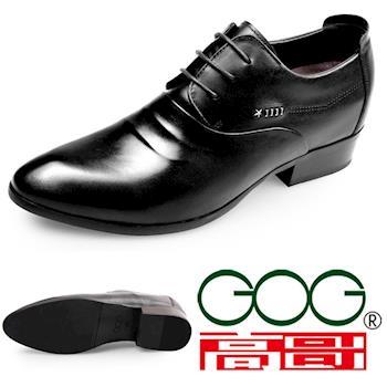 (預購)GOG高哥2017秋新款韓版系帶正裝皮鞋WX451759增高7.0CM