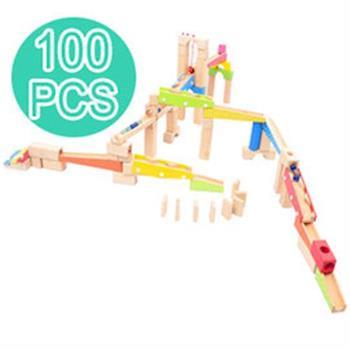 【funKids】木製-兒童創意積木拼接彈珠滑梯(100PCS)