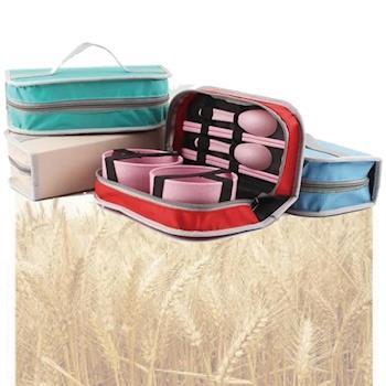 環保小麥雙人餐具包組/手提餐具包-隨機
