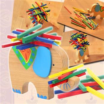 【funKids】木製-兒童櫸木可愛小象疊疊樂桌遊