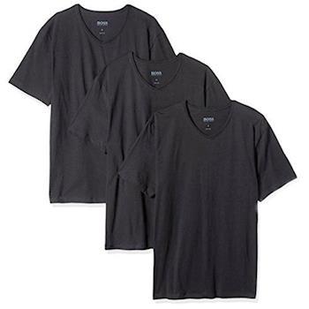 HUGO BOSS 男時尚純棉黑色V領短袖內衣3件組(預購)