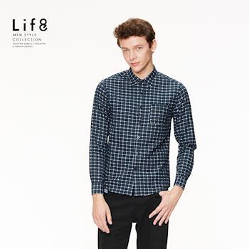Life8-Casual 法蘭絨 細格織紋 長袖襯衫-03887