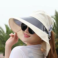 【OUTBOUND】日韓系女用酷夏防潑水鏡片防曬遮陽帽/沙灘帽
