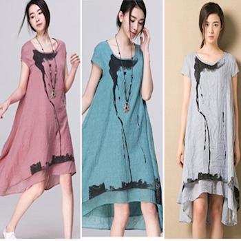 Moriya  森系棉麻復古文藝水彩畫短袖洋裝三色FD267