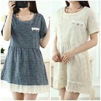Moriya  甜美小清新彩釦蕾絲拼接短袖棉麻連衣裙二色FD261