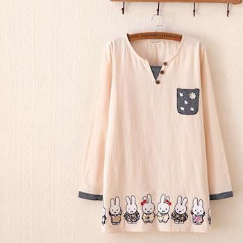 Moriya 可愛小兔休閒棉麻長版T恤FD240