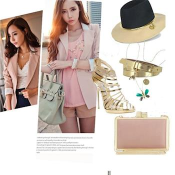 BubbleCoCo 韓版暖色時尚反折袖修身百褶設計中長款西裝外套 UB96
