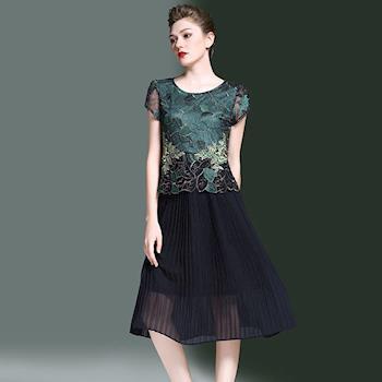 最水-富麗繡花蕾絲拼接洋裝
