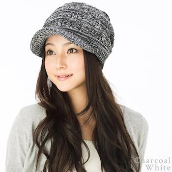 日本(QUEEN-HEAD)抗寒二重保暖獨特編織針織帽(046木炭/白色)