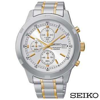 SEIKO精工 CHRONOGRAPH三眼計時雙色石英男錶 SKS423P1