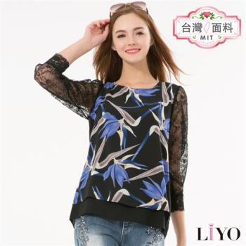 LIYO理優蕾絲鏤空袖雪紡印花首爾同步流行上衣E735012
